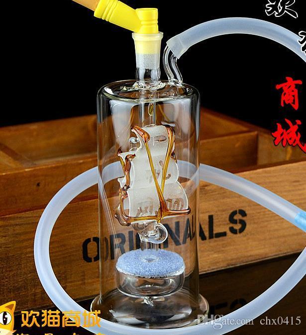 Nuovo narghilè in vetro muto per barche a vela, bong in vetro, tubo dell'acqua in vetro, pipa per fumare