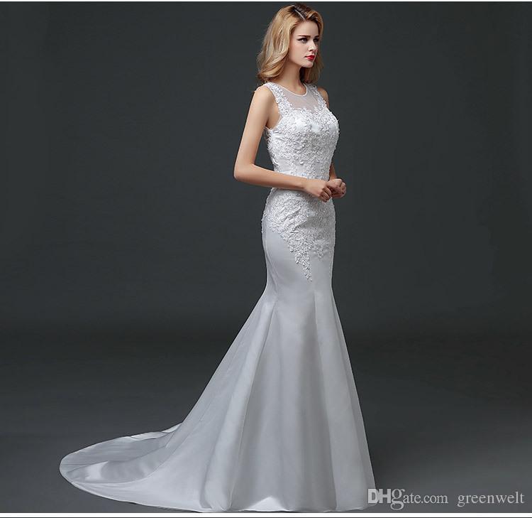 Lace Applique Chapel Train Wedding Gown Fishtail Wedding Dress ...