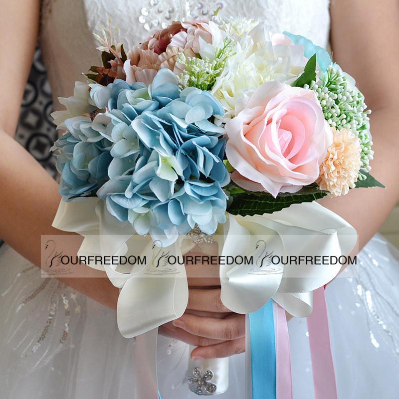 WF053 Nueva Boho Beach Wedding Flowers 18pcs Ramo Dama de honor Banquete de boda Flores de seda Venta caliente Verano Decoraciones baratas