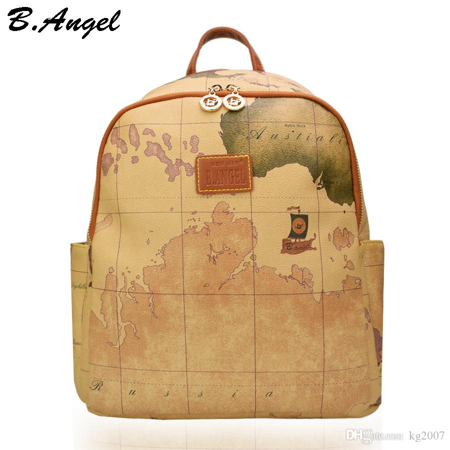High quality world map backpack women retro leather backpack brand design school backpack fashion backpack HC-Z-6652