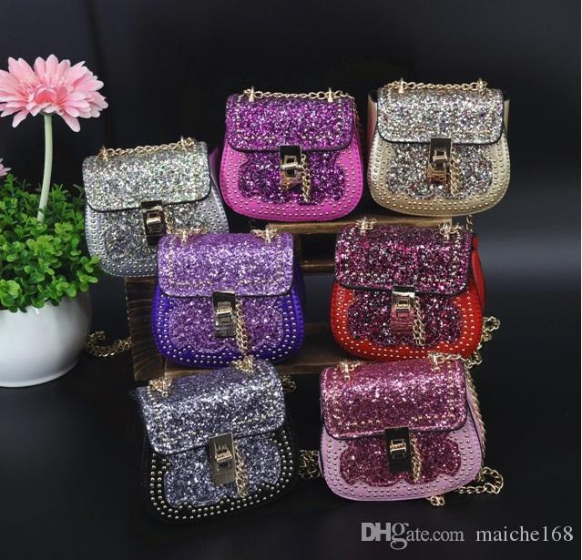 Girl messenger bag princess cute rivet sequins chain bag mini coin wallet child bag