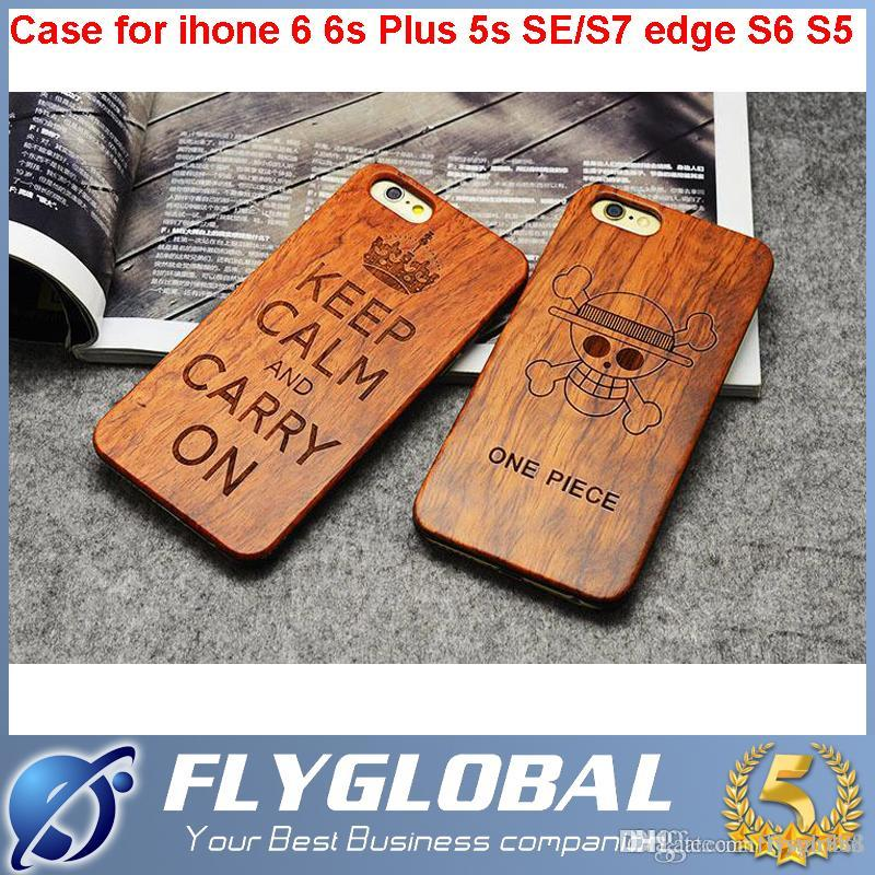 For iPhone 6 6S Plus Wooden Bamboo Case Custom Design Wood Slim Protective Back Cover Samsung Galaxy S7 S6 Edge Cases DHL Free