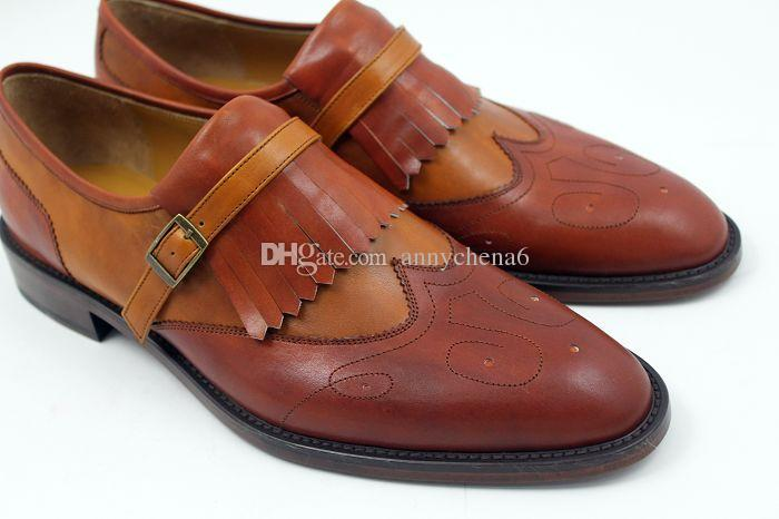 Großhandel Herren Anzugschuhe Slipper Schuhe Slipper Individuelle Handgefertigte Schuhe Oxfords Herrenschuhe Echtes Kalbsleder Farbe Braun HD N126 Von
