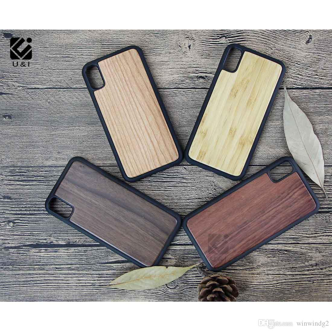 Newest Natural Wood Cell Phone Case for iPhone X i5 i6 i6 plus i7 Blank TPU Rubber Phone Protective Case