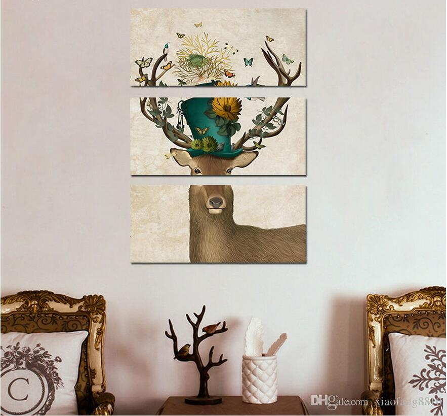 Art 3pcs Animal Children Living Room kid Decoration Flower deer antlers Canvas printed Painting wall Hanging home decor unframed