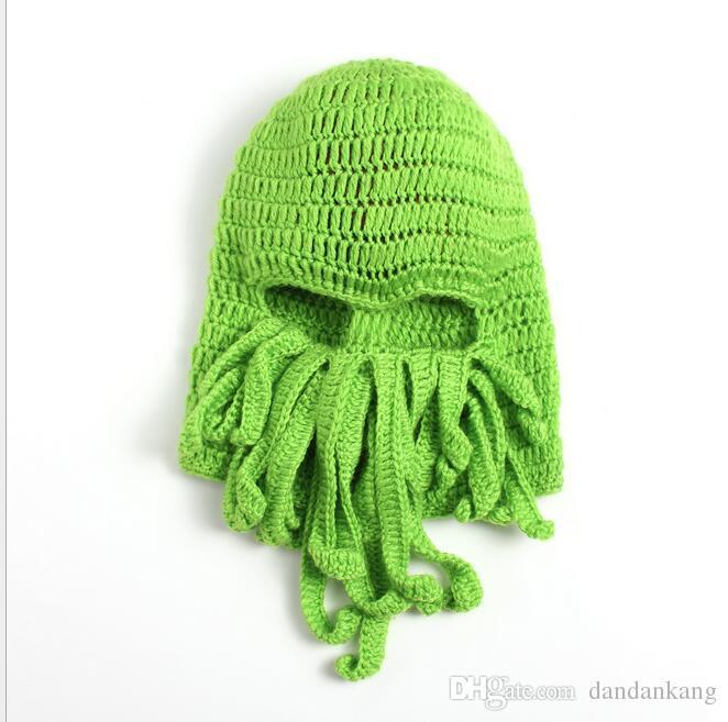 Unisex Octopus Beanie Squid Caps men Tentacle Knitted Wool Ski Face Mask Hats Sea Monster Crochet Beanie Cthulhu Octopus Caps Halloween mask
