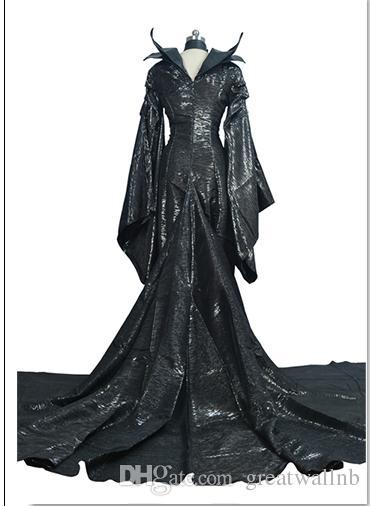 100%real black dark queen/witch/ evil queen cosplay maleficent cos dress