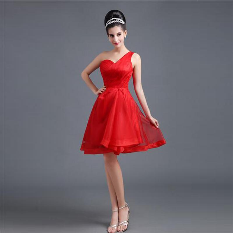 2016 nuova collezione una spalla breve abito da damigella d'onore una linea rossa abito da sposa partito formale design personalizzato abito a buon mercato