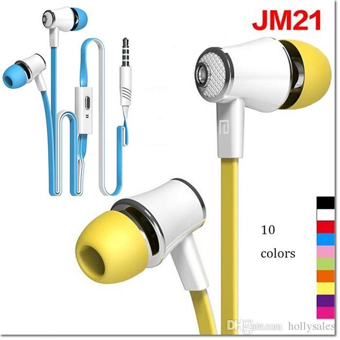 2016 filo di vendita caldo in ear stereo sport JM21 auricolare 115dB / mW 3.5mm jack super bass cuffia inear con 10 colori DHL libero