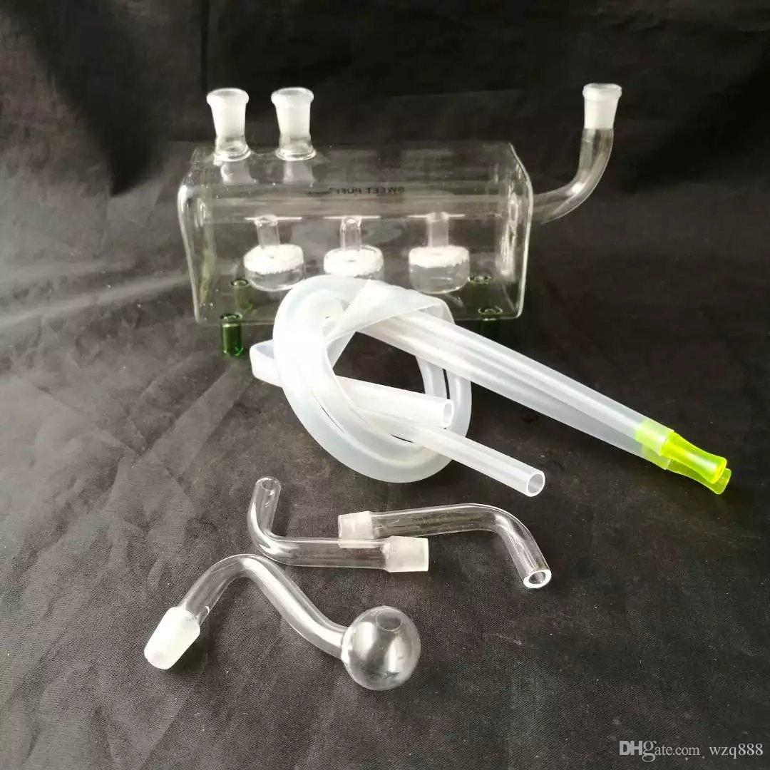 Tube horizontal double sur le pot de sable, Bongs en verre, Tuyau d'eau en verre, Narguilé, Accessoires pour fumeurs,