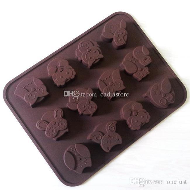 Silicone 12-Owl Cake Decorating Candy Cookies Cioccolato al sapone Stampi E00322 OST