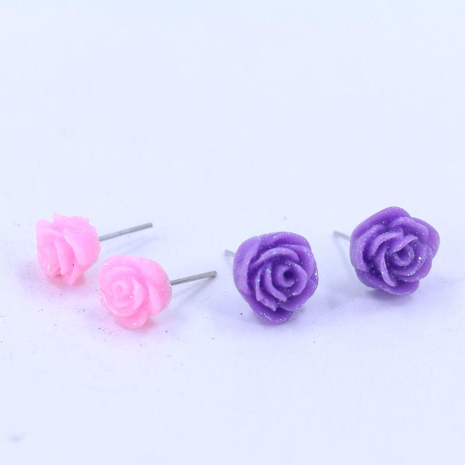 RESIN SILVER ROSE FLOWER STUD EARRINGS 12MM