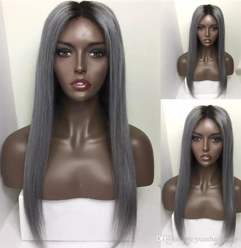 Dark Roots Human Hair Wigs Ombre Grey Ombre Blond Omber Pink Lace Front Wig Straight Brazilian Remy Hair Full Lace Wig Free Shipping