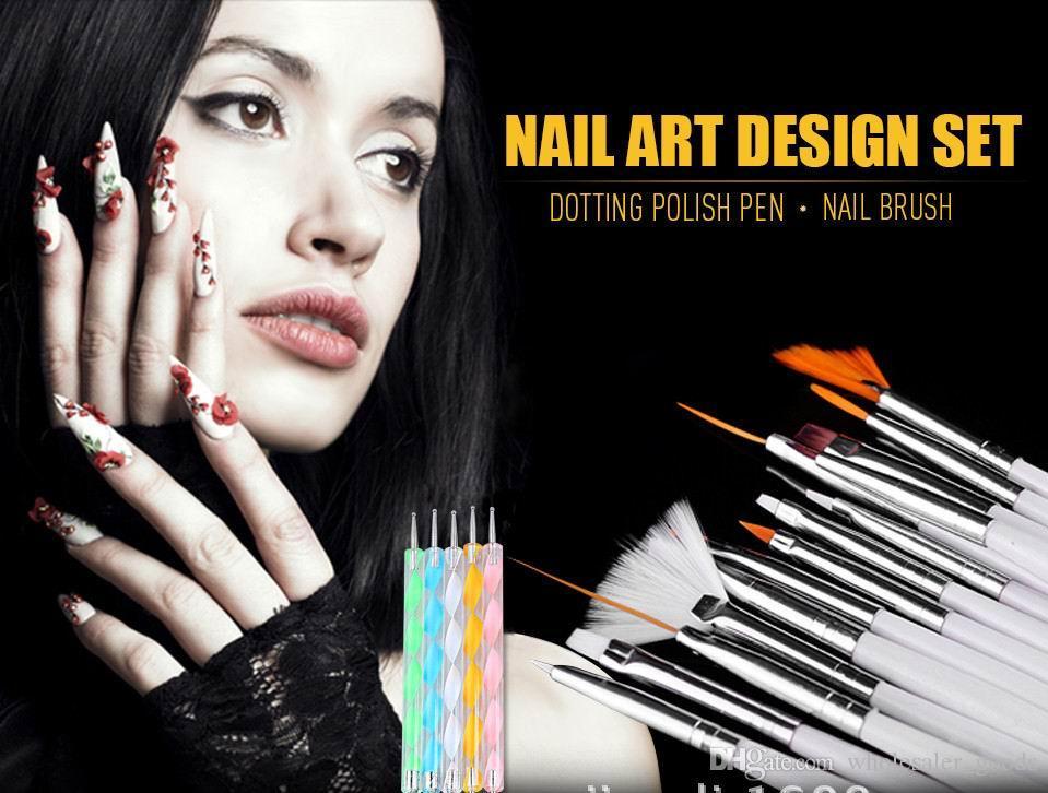 20pcs bellezza nail art design set da disegno pittura pittura disegno pennello lucido nail art design gel pittura disegno disegno penna penna smalto set