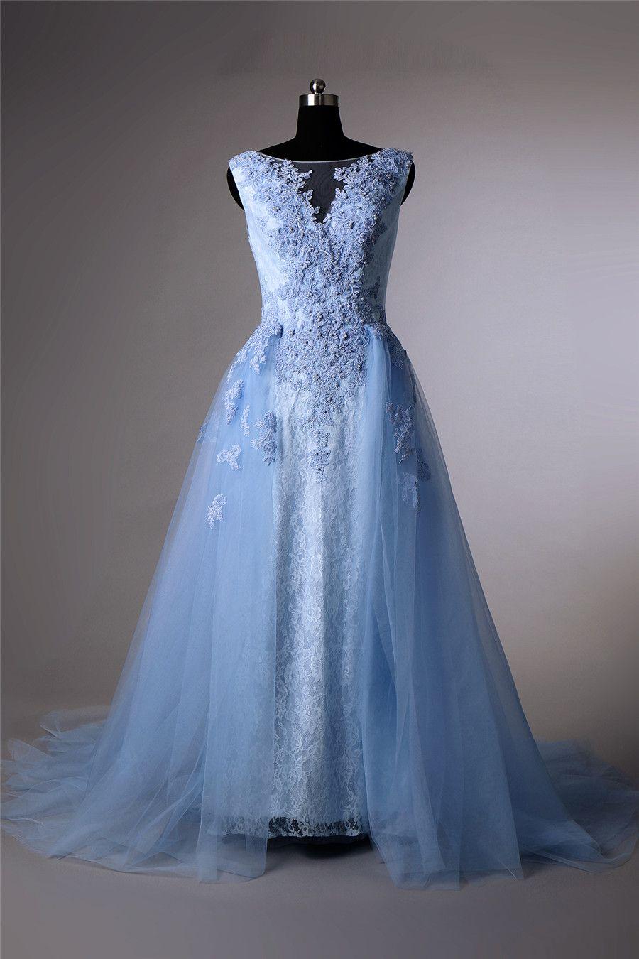 Großhandel Beauty A Line Blau Abendkleider Scoop Illusion Prom Kleid  Ärmellose Spitze Vestidos De Festa Applique Perlen Formale Abend Party  Kleider