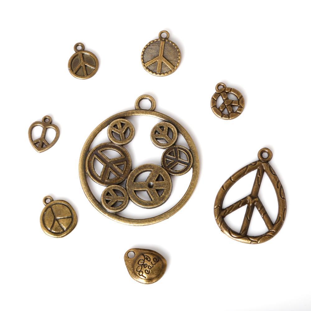 Free shipping New 61pcs/lot Zinc Alloy Antique Bronze Plated Peace Sign Charms Vintage Tibetan Pendants DIY Bracelet Necklace jewelry makin