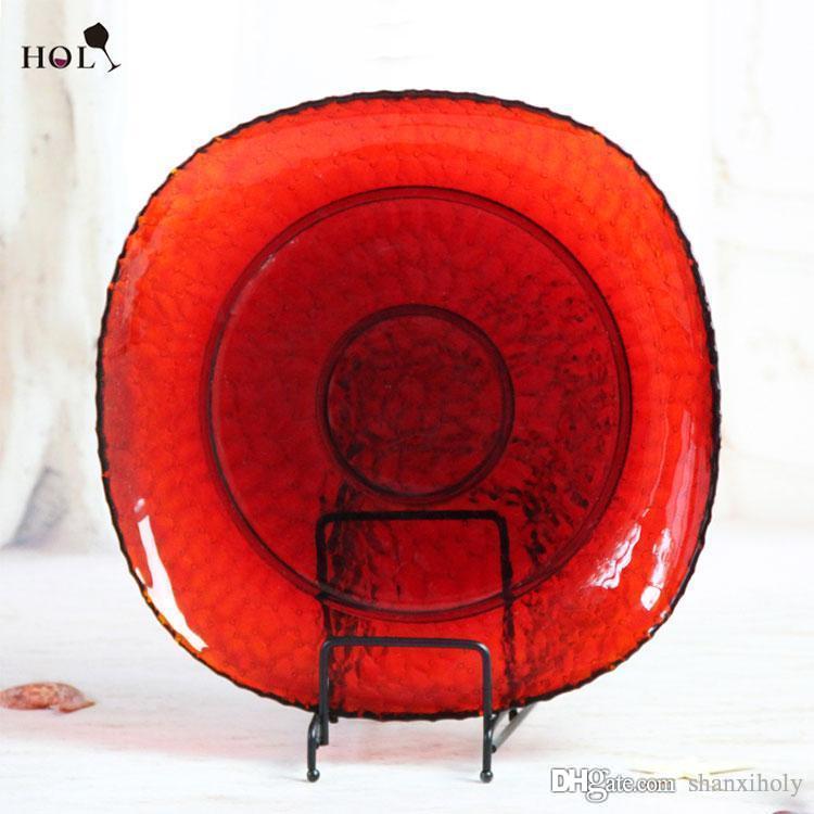 Decoração de casamento por atacado Red grande placa de jantar de placa de vidro