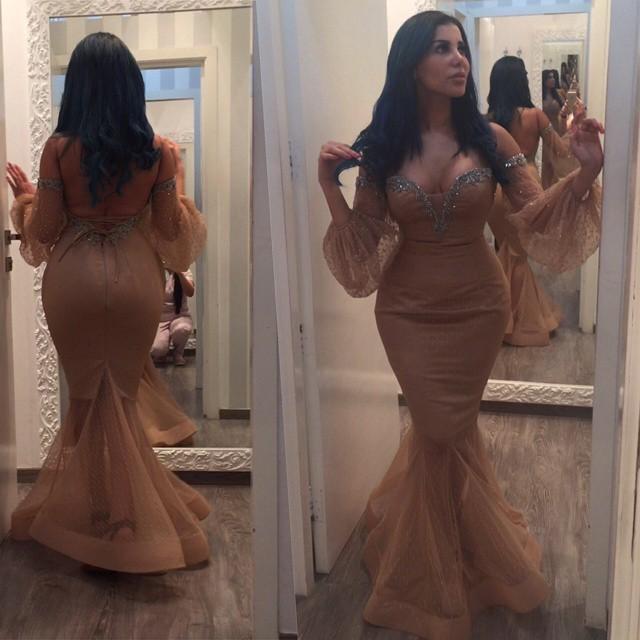 2016 Champagne Arabia Abendkleider Meerjungfrau Langarm Meerjungfrau Spitze Formale Abendkleider Mit Perlen Prom Party Kleider