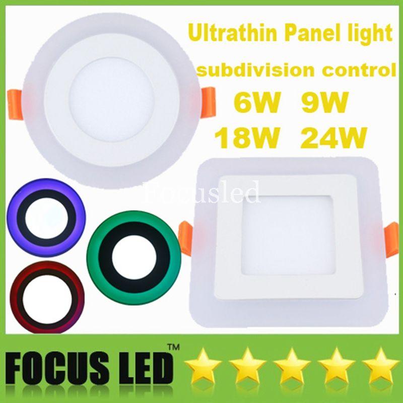 Las luces del panel LED ultrafinas más nuevas Control de subdivisión 6W 9W 18W 24W Azul Rojo Verde con empotrable blanco cálido / frío Downlight empotrado