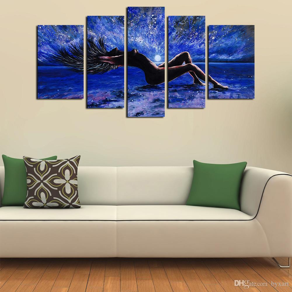 2020 5 Panels Sexy Girl Abstract Canvas Wall Art Women Naked Figure Canvas Art Oil Painting On Canvas For Living Room Bedroom Wall Decor From Byxart 19 45 Dhgate Com