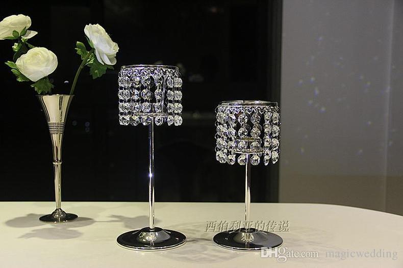 결혼식 테이블 최고 센터 피스, 가정 장식, 초 스탠드를위한 구슬로 만드는 결정을 가진 작은 초 홀더