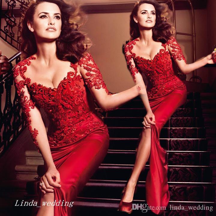 2019 guaina pizzo Abito da sera rosso Vintage fessura del lato formale abito speciale occasione partito di promenade dell'abito Plus Size vestidos de festa