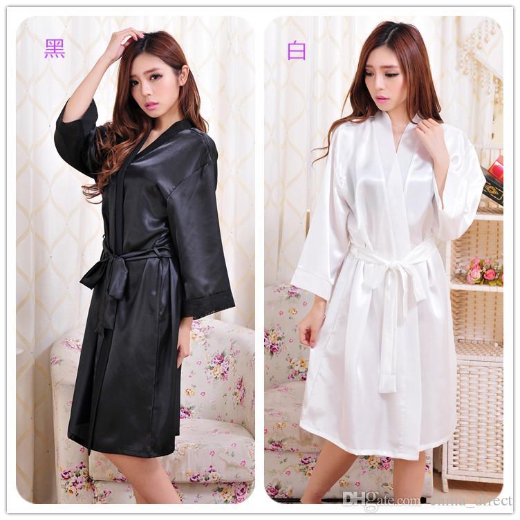 neue Ankunfts-Damenfrauen Normallackseidenkurzschluß Robe-Pyjama-Wäsche-Nachthemd-Kimono-Kleid pjs weibliches reizvolles Frauen-Kleid 7 Farbe # 3794