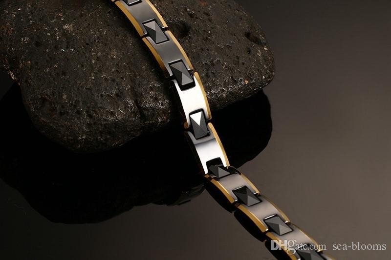 Homme Noir Bracelet Montre Acier Inoxydable Céramique Aimant Santé Bracelet Chaîne