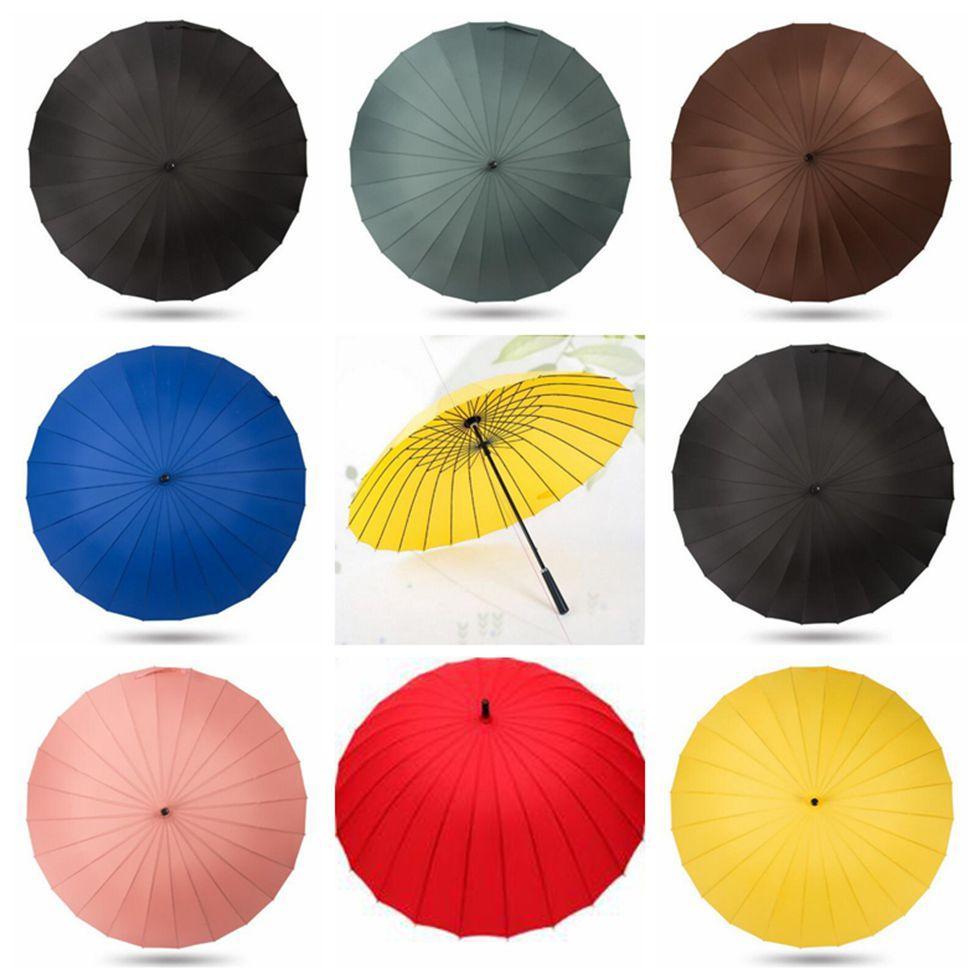 النساء كبيرة مظلة المطر النساء 24 كيلو يندبروف الذكور المشي عصا المظلات الرجال rainbow جولف الشمس باراجواس الملونة مظلة قصب TOP1972ZZ