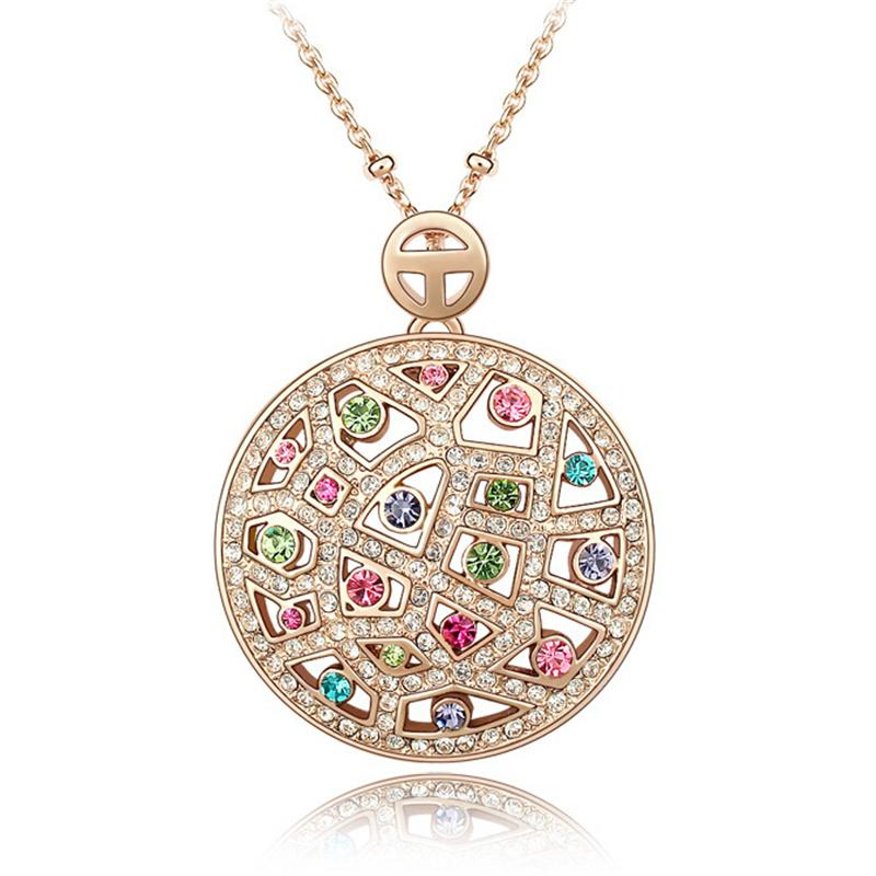 Austrian Crystal Vintage Necklaces Pendants Rose Gold Plated Fashion Jewelry Women Round Crystal Necklace made with Swarovski Elements 3541