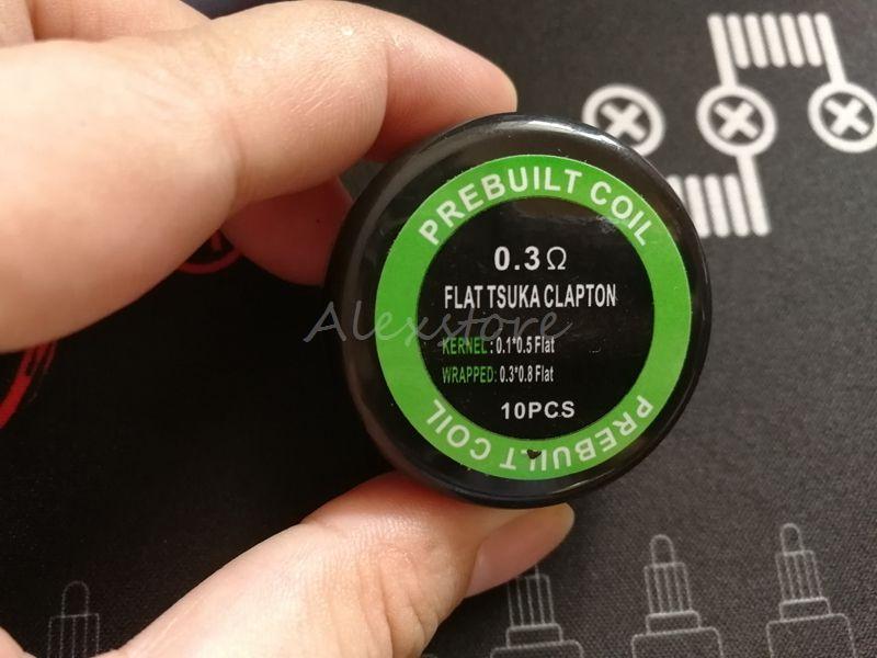 Płaski Tsuka Clapton Cewka wstępnie zbudowana 0,3 * 0.8 Mieszkanie + 0,1 * 0.5 Płaskie 0.3OHM Cewki Pamiętaj Wrap Zabezpieczone Przewody grzejne RDA
