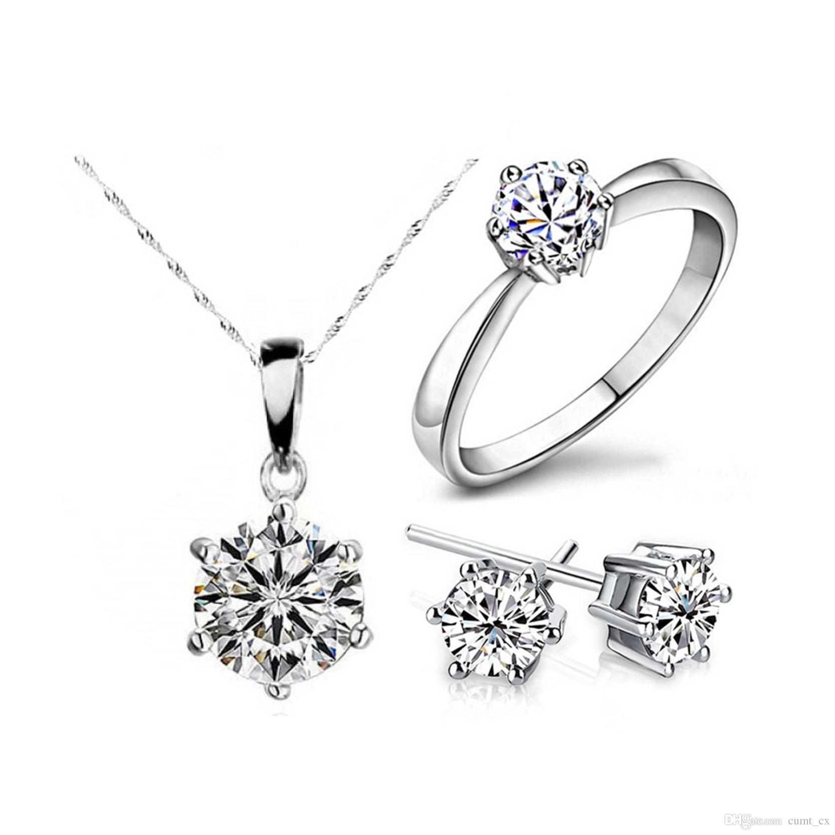 Conjuntos de Jóias de Moda de cor Prata Cubic Zircon Declaração Colar Brincos Anéis de Jóias de Casamento para As Mulheres Presente