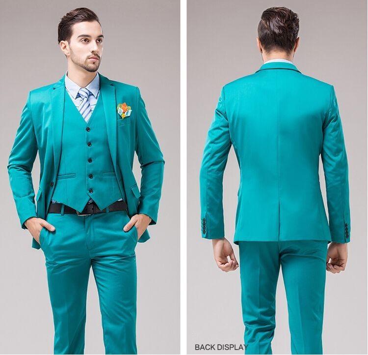 Mais recente Suit One Button melhor casamento do homem Groomsmen Turquoise Noivo Smoking Notch lapela Slim Fit de Homens / Ternos jantar (jaqueta + calça + Vest) J888