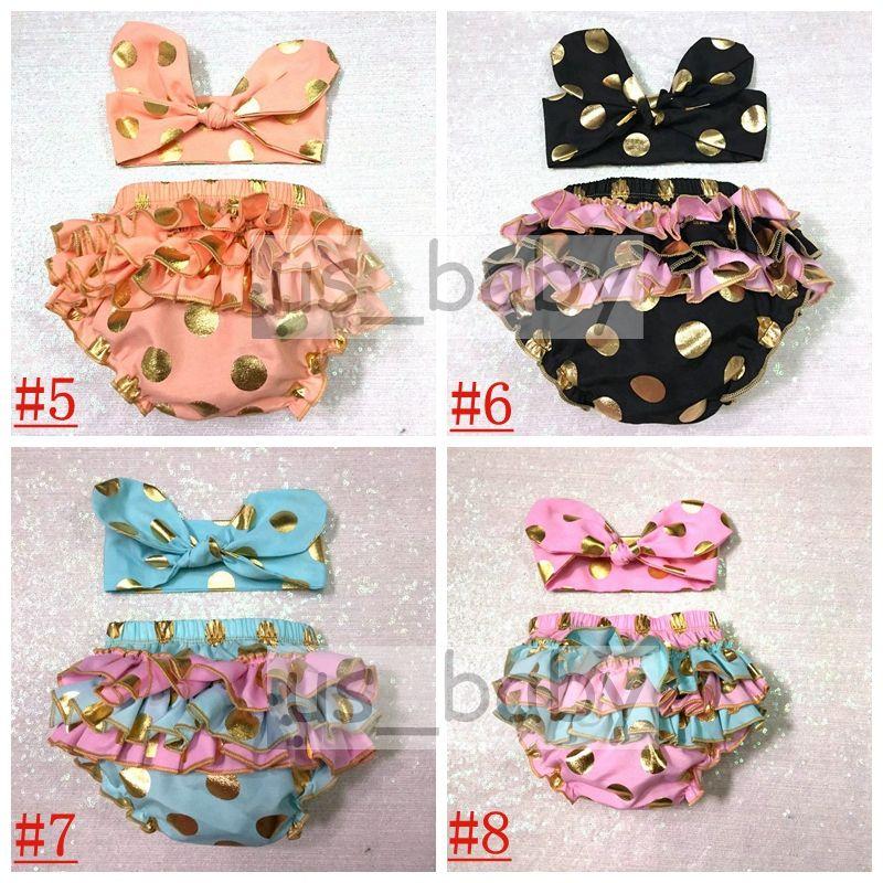 2016 girls gold polka dot shorts baby bloomers + headbands 2pc set childrens ruffled shorts kids cotton underwear girls boutique short pants