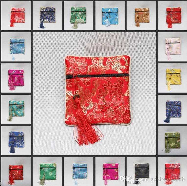 Wholesale Cheap 10pcs Chinese Vintage Silk Jewellery Pouch Gift Bag / Free Shipping