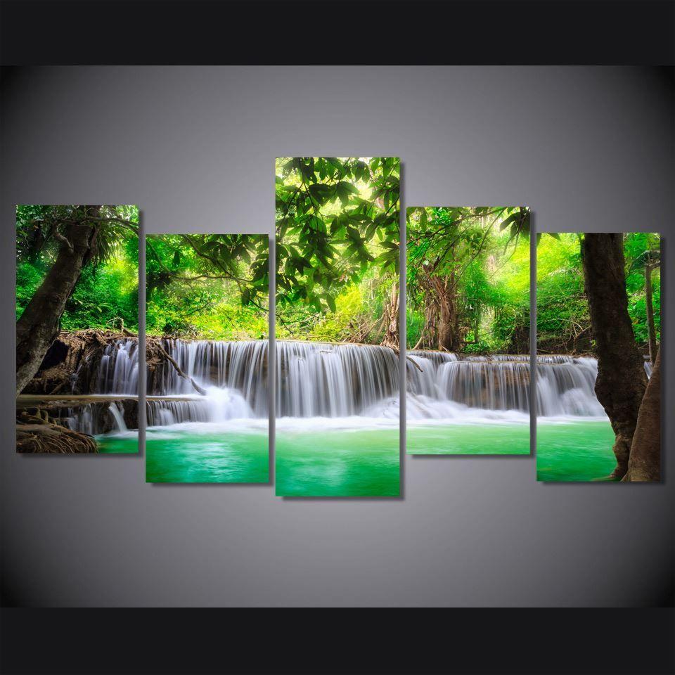 5 Paneli HD Baskılı Yeşil Tropikal Şelale Tuval Odası Dekor poster resim Tuval Boyama Baskı Baskı Boyama