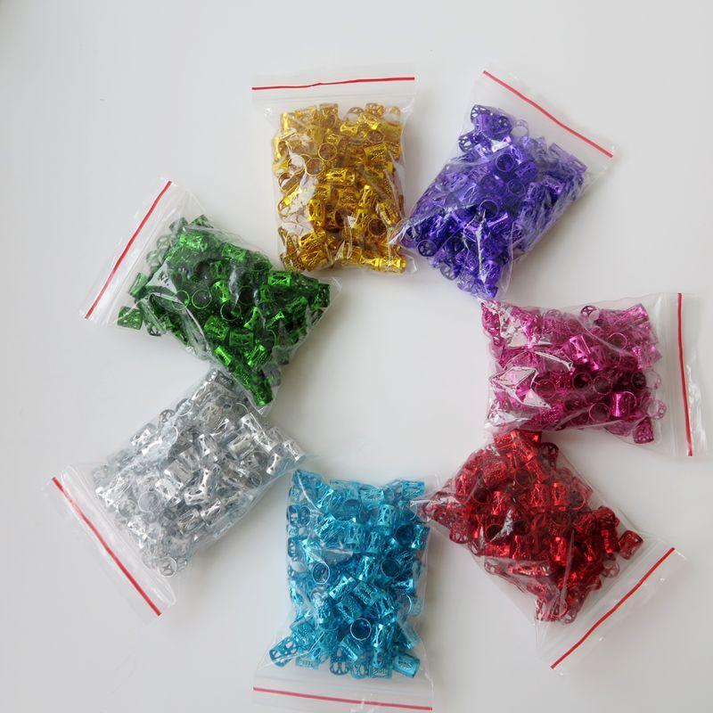 100 pçs / lote colorido Havana Mambo Link Beads Anéis Caixa Tranças de Cabelo Clipe Cuff Clipe Dreadlock Beads Ajustável mais cores Opcional