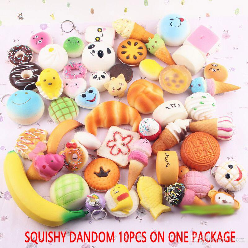 2017 10pcs/lot squishies toy Slow Rising Squishy Rainbow sweetmeats ice cream cake bread Strawberry Bread Charm Phone Straps Soft Fruit Toys