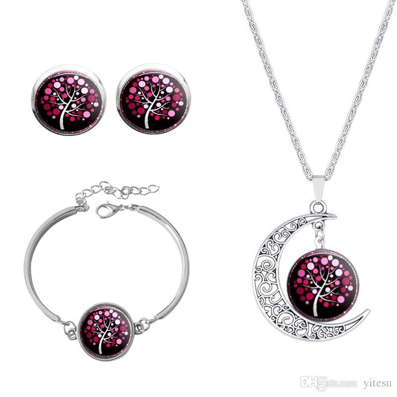 2016 Data Vintage gioielli in argento Imposta la tua immagine di luna Albero di vetro Orecchini collana imposta braccialetto donne regalo di Natale