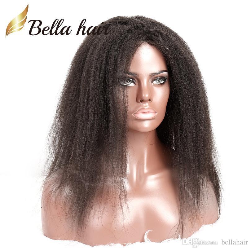 """8 """"-30""""フルレースのかつら100%ブラジル人の髪の自然な色のキンキーストレートヘアウィッグ黒女性密度150%中帽子ベラエア"""