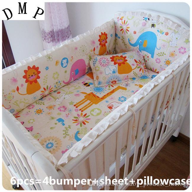 ترقية وظيفية! طقم سرير اطفال 6 قطع من الكرتون ، طقم سرير للطفل ، طقم سرير (مصدات + ورقة + وسادة)
