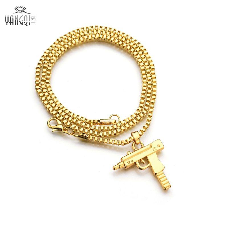 Hip Hop Schmuck Brief Gun Halskette Silber Gold Farbe Lange Kette Anhänger Halsketten HipHop Für Männer Frauen Geschenk