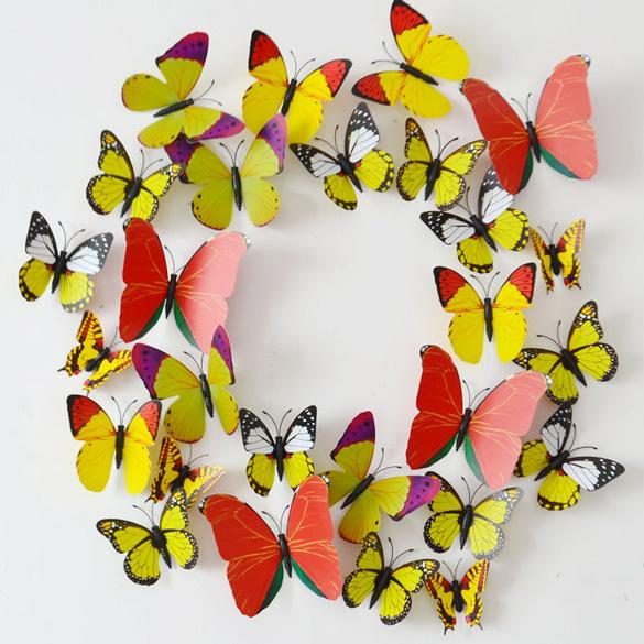 12pcs/set 3D wall stickers butterfly fridge magnet wedding photography props home decoration Art Design Decal Wall order<$18no track