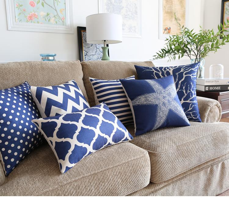 Free shipping mediterranean blue sea star coral squares zigzags chevrons stripes lanterns pattern Cushion Cover home decorative pillow Case