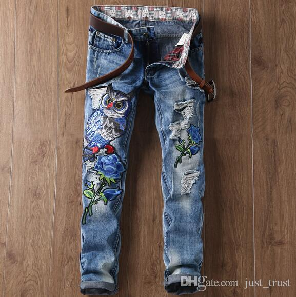 2018 Top Chinese Love rose Bird embroidered jeans Bieber beggars Distrressed trousers New fashion Ripped Straight holes Hiphop patches jeans