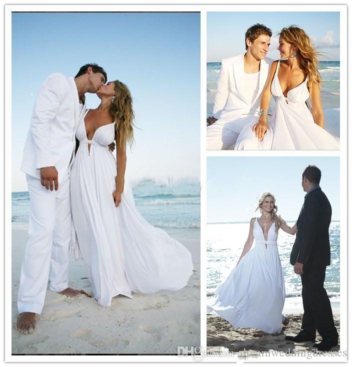 2016 Vintage Beach Wedding Dresses V Neck Summer Spaghetti Cut Out ...
