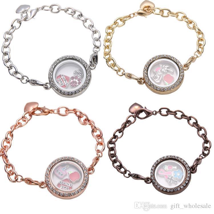Bracciale in argento a forma di cerchio in argento con 5 fili di cristallo per bracciali galleggianti