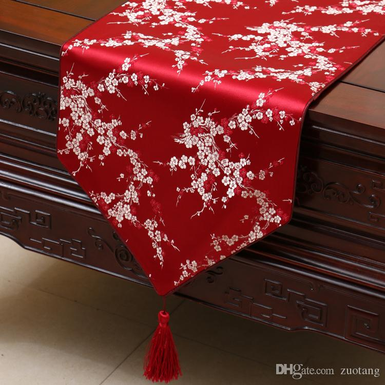 Extra Long 120 inch Cherry blossoms Table Runner Fashion Simple Coffee Table Cloth Decorating Dining Table Mats Silk Brocade Protective Pads