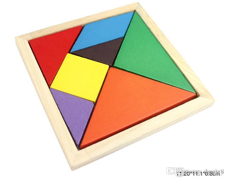 Оптовые детские развивающие деревянные игрушки, цветные головоломки. Форма когнитивные строительные блоки собраны игрушки