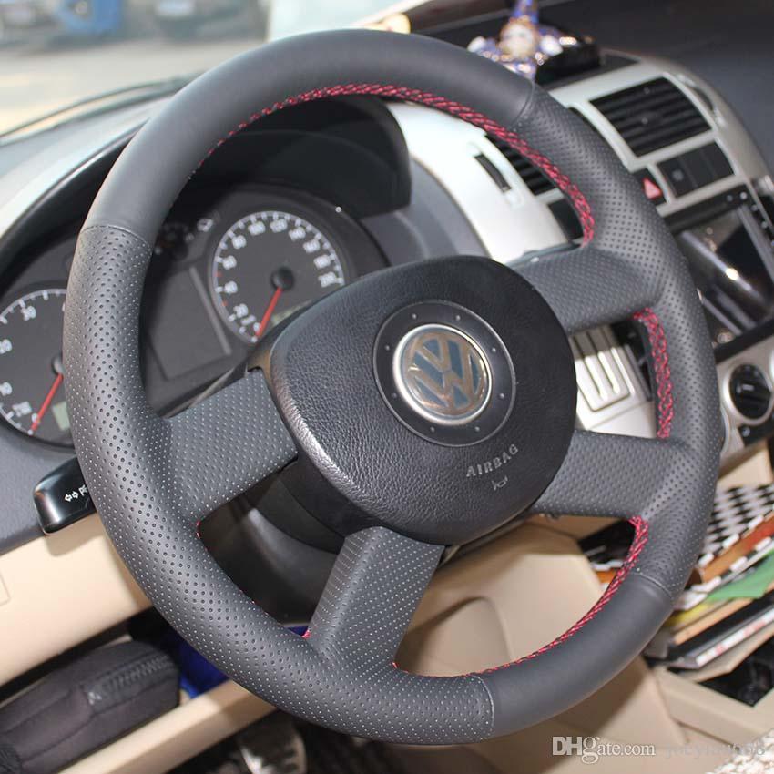 تغطية عجلة القيادة القضية لفولكس واجن النماذج القديمة فولكس فاجن بولو القديمة جلد طبيعي diy اليد الخياطة عجلة غطاء سيارة التصميم
